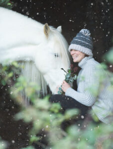 Christmas with Angela and her beautiful  gypsy cob, Zan